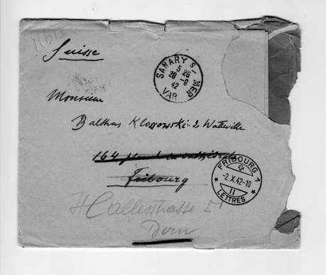 Enveloppe adressée à Balthus (lettre de son père)