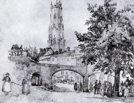 """Le """"Bletz"""" et l'aqueduc du Pont-Muré peu avant sa démolition, d'après un dessin de François Bonnet"""