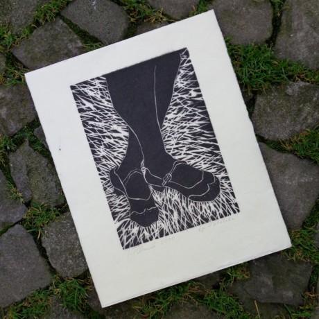 Isabelle Pilloud vous offre Autoportrait, Gravure sur bois, Épreuve d'atelier.