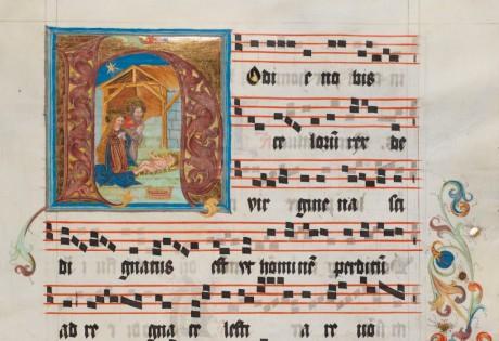 Extrait d'un antiphonaire du XVI siècle à la Cathédrale Saint-Nicolas