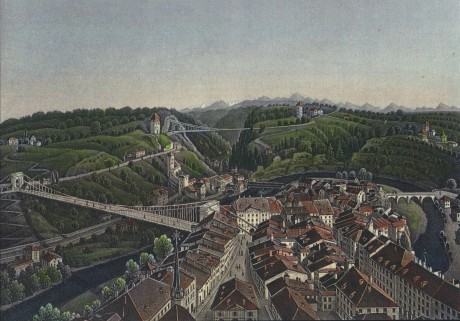 Vue de Fribourg prise de la tour de Saint-Nicolas par R. Dikenmann (vers1860)