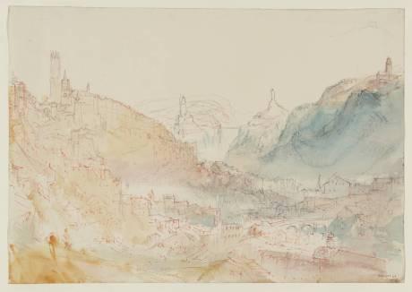 William Turner, Fribourg: The Descent from the Hôtel de Ville circa 1841
